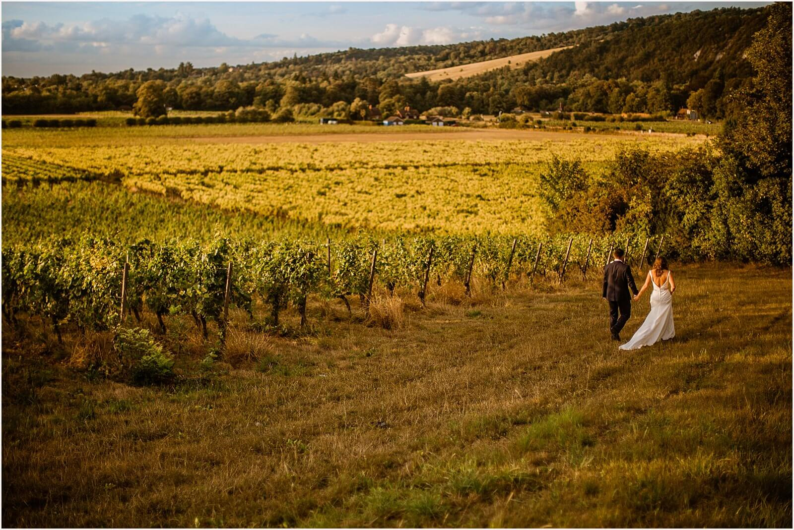 bride and groom walking past vineyards holding hands at a Denbies Vineyard Wedding